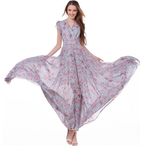 Bohemia Summer Dress Floral Butterfly Short Sleeve Holiday Dress V-Neck Chiffon Dress Sweep Train Travel Dress,CQ00014