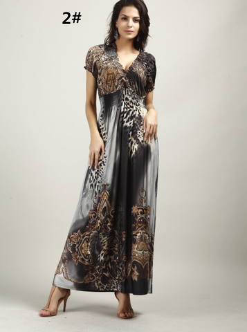 Bohemian Beach Dress Leopard Bohemian Dress Ice Silk Summer Casual Dress,CQ00036