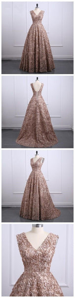 Brown Lace V Neckline A line Long Evening Prom Dresses, Popular Cheap Long 2018 Party Prom Dresses,HS135