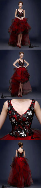 Burgundy V -Neck High Low Tulle Prom Dress, Lace Evening Dress,Formal Dress,HS482