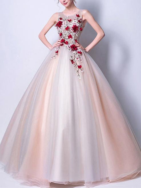 Chic Applique long Prom Dress Scoop Floor-length Ball Gown Evening Dress,HS313