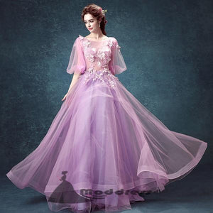 Chic Lilac Prom Dress Appliques Floor-length A-Line Beautiful Long Evening Dress,HS324