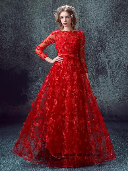 Floor Length Long Prom Dresses with Sleeves