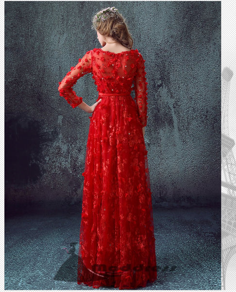 Chic Long Prom Dress Floor-length Wedding Dress A-line Lace Long Sleeve Evening Dress,HS323
