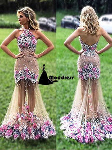 Chic Prom Dresses Mermaid Hand-Made Halter Backless Flower Long Evening Dress,HS315