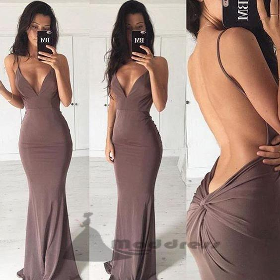 Chocolate Sexy Prom Dresses Spaghetti Straps Backless Column Long Evening Dresses,HS322