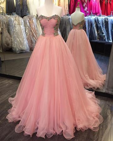 Crystal Beaded Long Prom Dresses Sweetheart Ball Gowns Backless Evening Formal Dresses,HS558