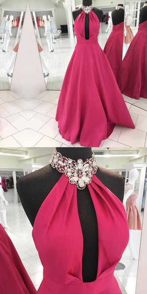 Crystal Beading Long Prom Dresses Halter A-Line Evening Formal Dresses,HS559