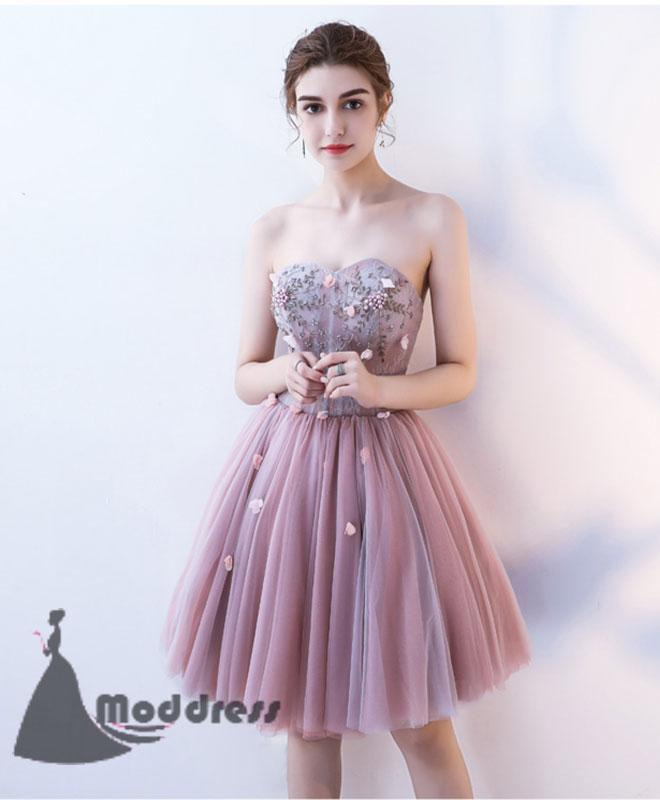 Cute Homecoming Dresses Sweetheart Short Prom Dress Strapless Formal Dress,HS511
