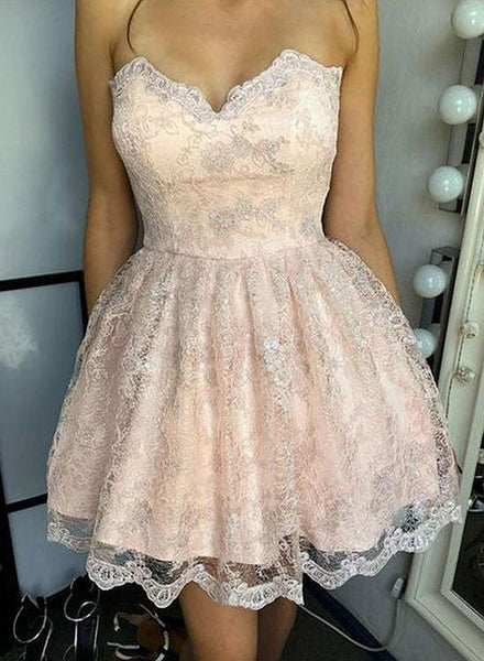 Cute Lace Short Homecoming Dresses Sweetheart Prom Dresses Knee Length Evening Formal Dresses,MG0010
