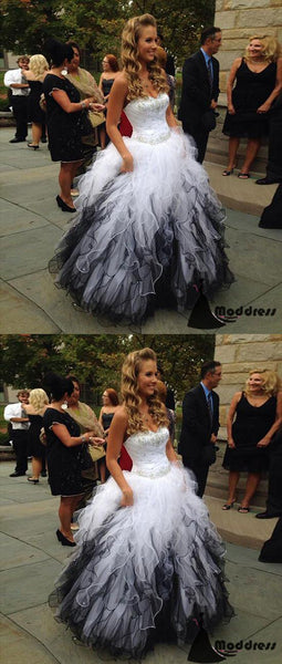 Cute Sweetheart Long Prom Dress White Black Ball Gowns Beading Evening Dress,HS433