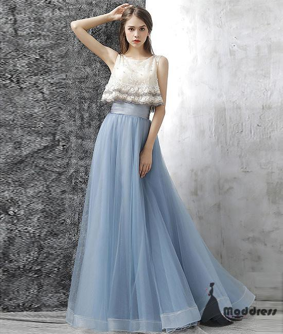 Cute Two Pieces Long Prom Dress Tulle Homecoming Dress Blue Evening Dress,HS395