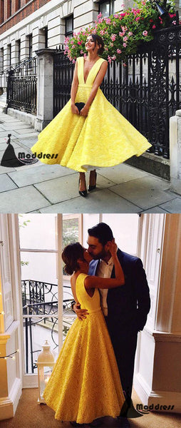 Cute Yellow Lace Long Prom Dress Deep V-Neck Sleeveless Evening Dress,HS411