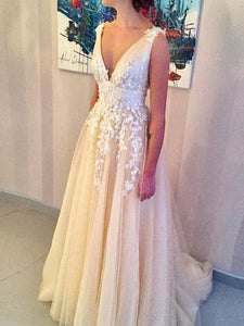 Deep V-Neck Long Prom Dresses Applique Evening Dresses A-Line Formal Dresses