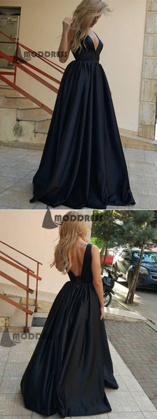 Deep V-Neck Long Prom Dresses Black Backless Evening Dresses Satin Formal Dresses,HS531