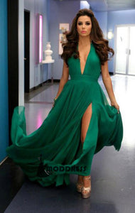 Deep V-Neck Long Prom Dresses Green Evening Dresses,Formal Dresses with High Slit,HS533