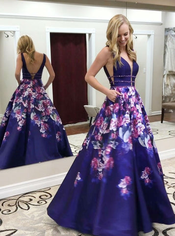 Deep V-Neck Long Prom Dresses V-Back A-Line Evening Dresses Sleeveless Formal Dresses