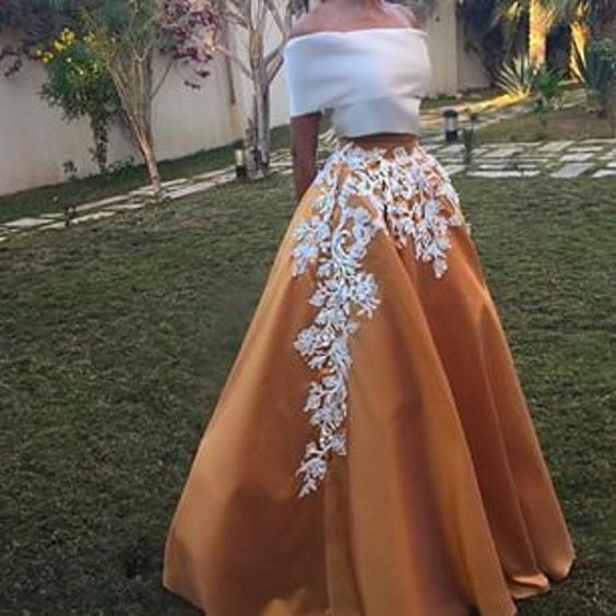 Elegant 2 Pieces Long Prom Dresses Off the Shoulder Evening Dresses Applique A-Line Formal Gowns,MG0030