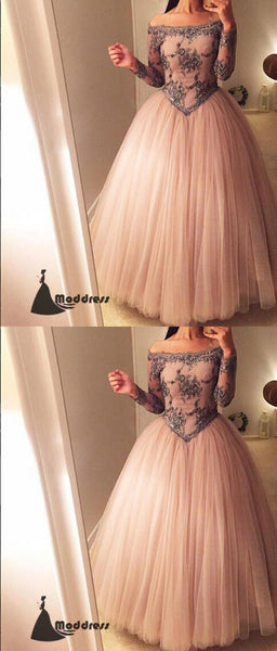 Elegant Applique Long Prom Dress Off the Shoulder Ball Gowns Evening Dress,HS421