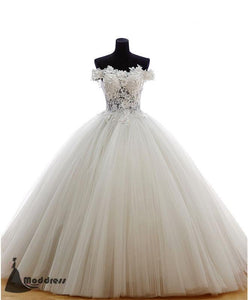 Elegant Applique Wedding Dress Off the Shoulder Ball Bridal Gowns Tulle Long Bridal Dress,HS496