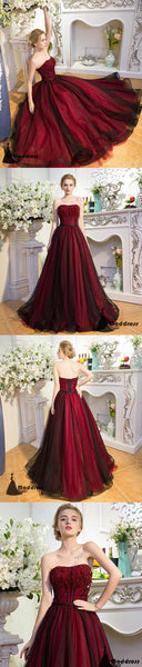 Elegant Beading Long Prom Dress Strapless Tulle A-Line Evening Dress,HS404
