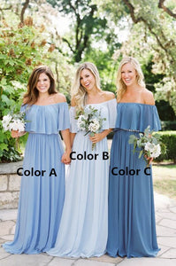 Country Bridesmaid Dresses Off the Shoulder Long Bridesmaid Dresses Chiffon Prom dresses,MG0011