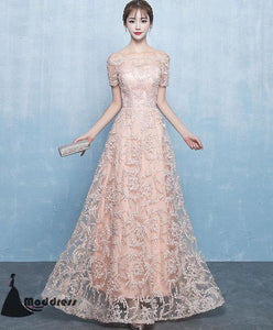 Elegant Lace Long Prom Dress Off the Shoulder Evening Dress A-Line Pink Formal Dress,HS510