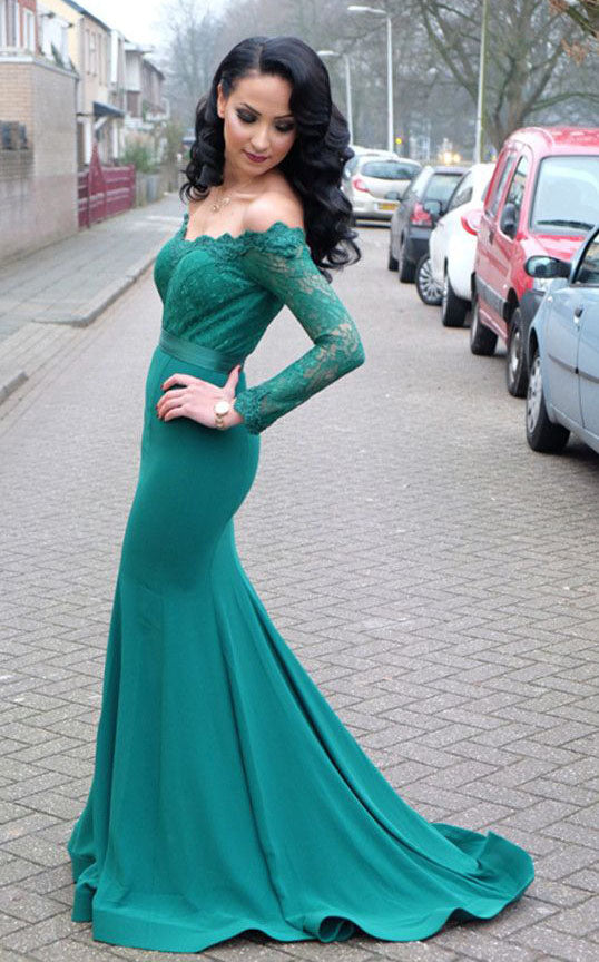 Elegant Lace Long Prom Dresses Mermaid Long Sleeve Evening Dresses Long Sleeve Formal Dresses