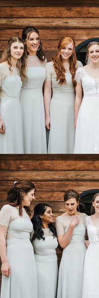 Elegant Long Bridesmaid Dresses Short Sleeve A-Line Bridesmaid Dresses