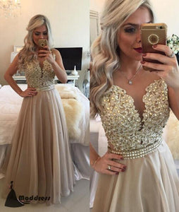 Elegant Long Prom Dress Applique Beading Evening Dress A-Line Formal Dress,HS478