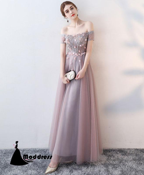 Elegant Long Prom Dresses Tulle Evening Dress Applique A-Line Formal Dress