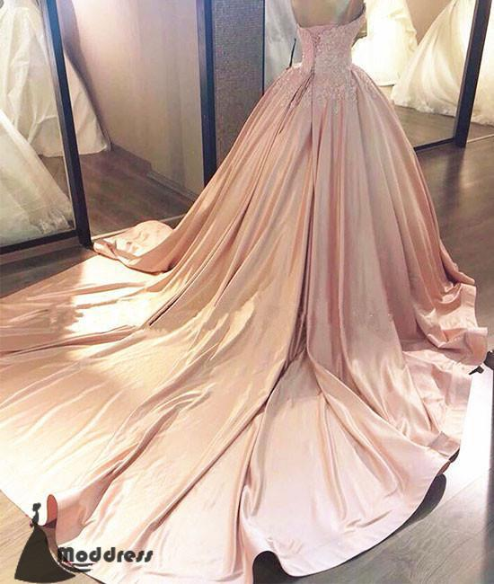 9d2abf445a9 ... Elegant Pink Long Prom Dresses Sweetheart Evening Dress Ball Gowns  Formal Dress with Trains