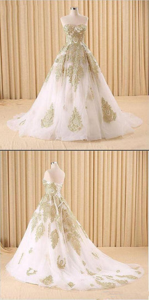 Elegant White and Gold Lace Prom Dresses,Ball Gown Evening Dresses