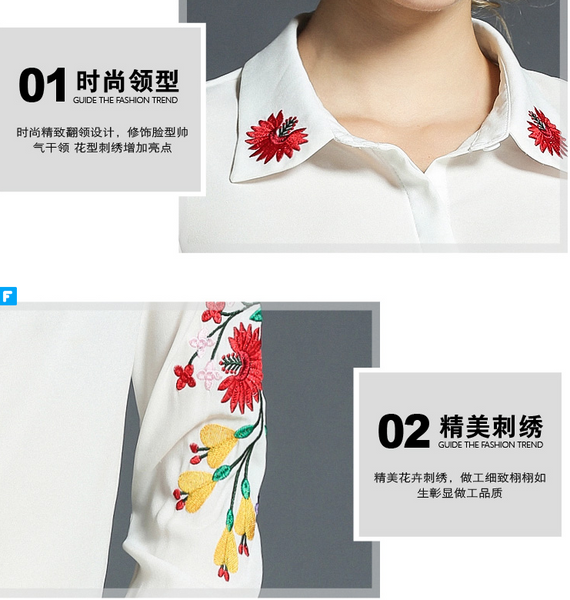 Embroidery Women Blouses Fashion White Chiffon Casual Shirts lapel Long Sleeve Fashion Shirts