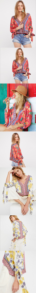 Fashion Bohemian Shirts Loose Chiffon V-Neck Printed Casual T-Shirts
