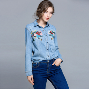 Fashion Embroidery Women Blouses Gradient Washed Denim Shirts Long Sleeve Casual Shirts,CS0006