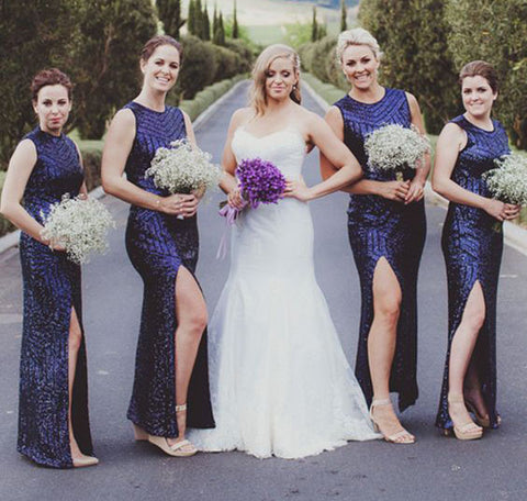 Fashion Sequins Bridesmaid Dresses Scoop Sleeveless Bridesmaid Dresses Long Bridesmaid Dresses with High Slit,MG0019