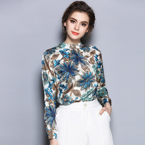 Fashionable Printed Women Blouses Stand Collar Long Sleeve Casual Shirts,CS0007