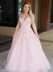 Floral Beaded Long Prom Dresses V-Neck Evening Dresses Tulle A-Line Backless Formal Dresses