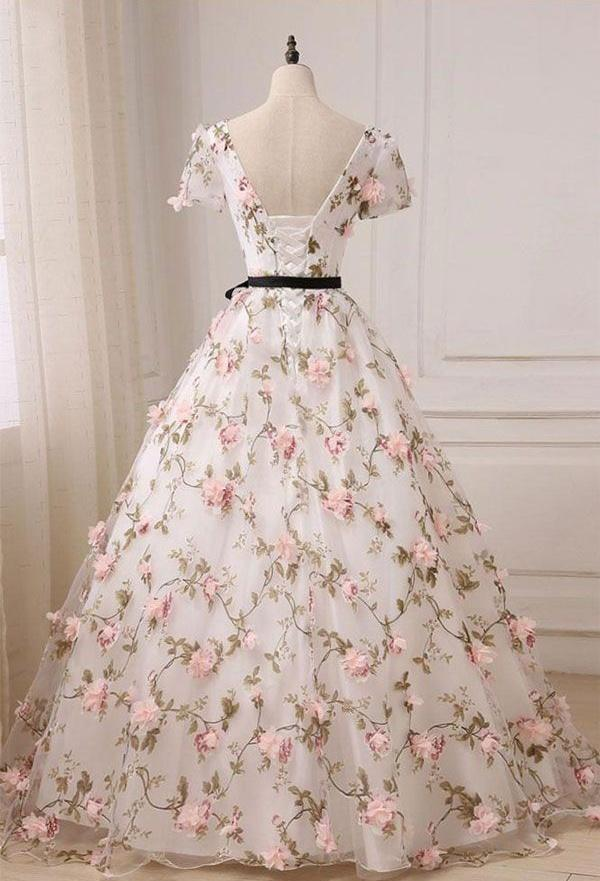 06f0e0549a ... Floral Long Prom Dresses V-Neck Evening Formal Dresses Ball Gowns ...