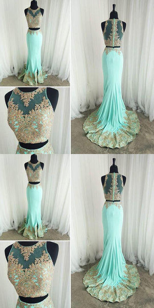 Gold Lace Appliques Mermaid Formal Evening Gowns Elegant Two Piece Prom Dresses