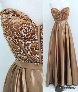 Gold Long Prom Dresses Sweetheart A-Line Evening Dress Formal Dress,HS463
