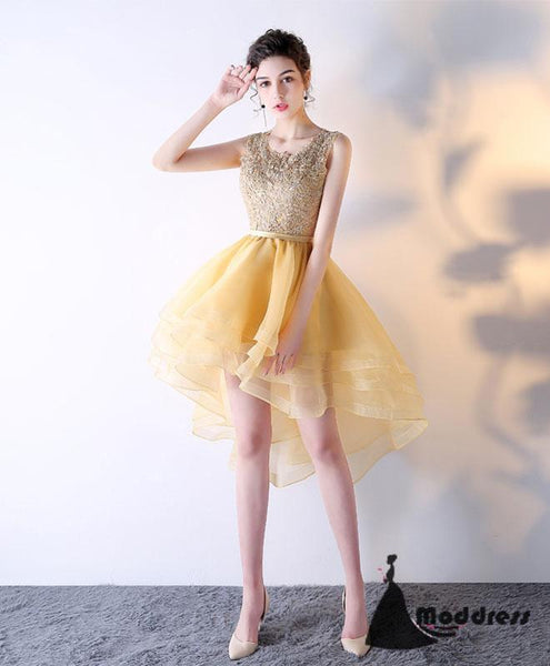 Gold Short Homecoming Dress Lace Prom Dress Tulle Scoop Formal Dress,HS514