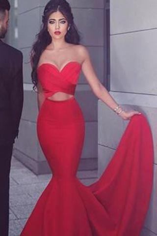 Gorgeous Strapless Mermaid Red Long Prom Dress Evening Dress,HS286