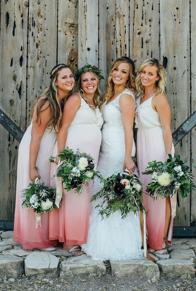 Gradient Long Bridesmaid Dresses V-Neck Bridesmaid Dresses Chiffon Sleeveless Bridesmaid Dresses,MG0020