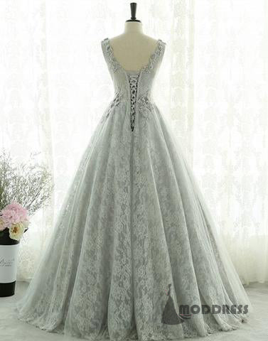Gray Long Prom Dresses Lace Evening Dresses A-Line Formal Dresses,HS535