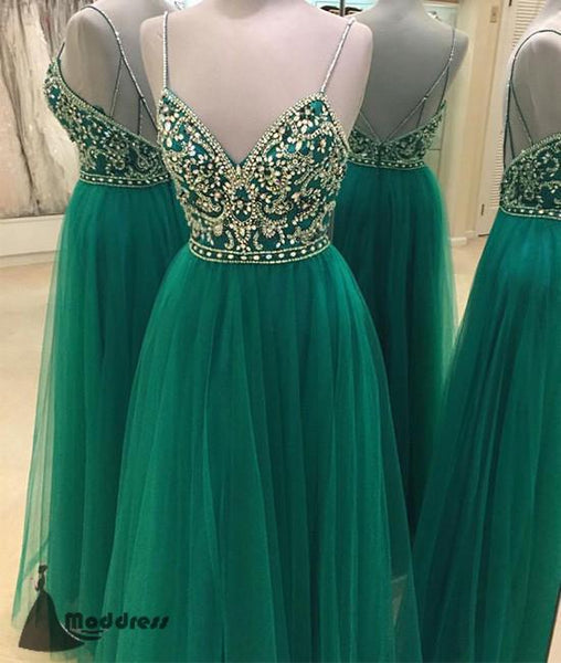 Green Sweetheart Long Prom Dress Tulle Beading Evening Dress A-Line Formal Dresses,HS454