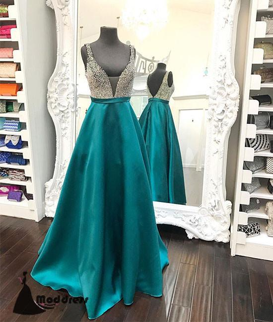 Green V-Neck Long Prom Dress A-Line Satin Evening Dress,HS427