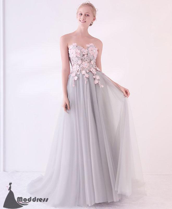Grey Long Prom Dress Applique Tulle Evening Dress Sweetheart Formal Dress,HS503