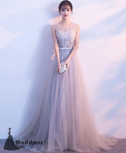 Grey Long Prom Dress Scoop A-Line Evening Dress Tulle Formal Dress,HS515